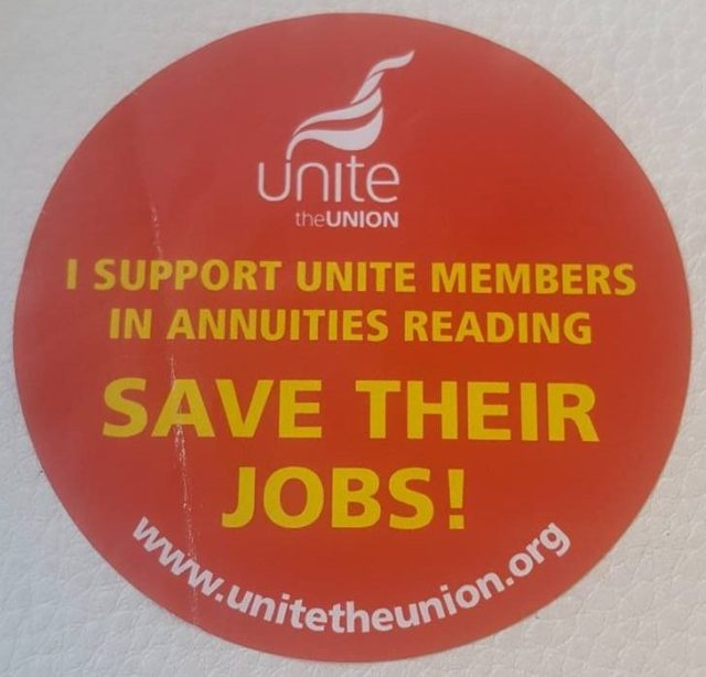 "Unite sticker ""I support Unite members in annuities Reading. Save their jobs!"""
